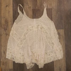 Free People White Lace Tank Tunic